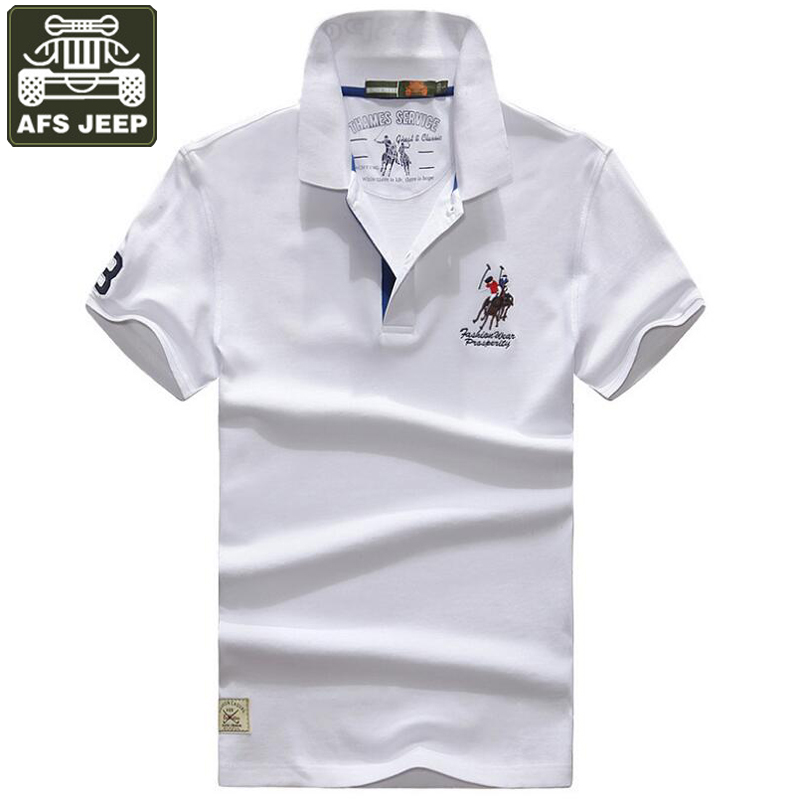 AFS JEEP 2017 Polos Man Short Sleeve Brand Cotton Embroidery Logo Polo Shirt Men Plus Size