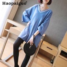2019 Spring Summer Black Knitted Blouse Women V-neck Long Sleeve Oversize Pullover Office Work Shirt Top