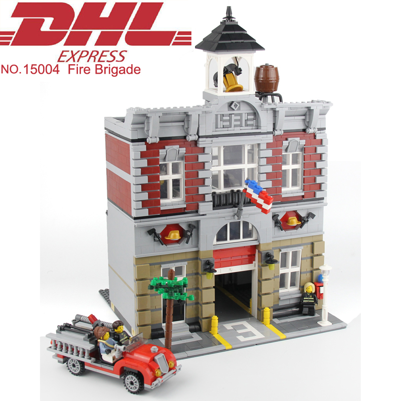 Lepin 15004 2313Pcs City Street Fire Brigade Model Building Kits Blocks Bricks Hot Toy For Children Figures Set Compatible 10197