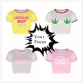 2016 summer harajuku punk rock unif omighty cute style Maple Leaf and letters print pink cropped women sexy slim crop tops