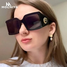 MOLNIYA Square Sunglasses Women Metal Hinge Sun Glasses Men Retro Oversized Frame UV400 Gradient Eyeglasses