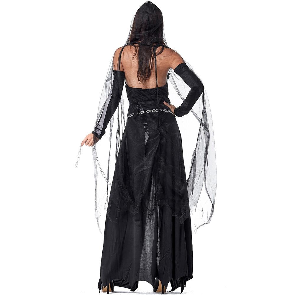 Womens Lady Grim Reaper Costume Halloween Skeleton Horror Fancy Plus Dress