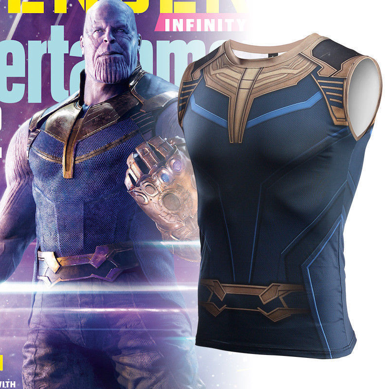 2018 Avengers Infinity War Thanos T-Shirt Cosplay Coatume Thanos Costume Superhero Vest T-Shirts Halloween Party
