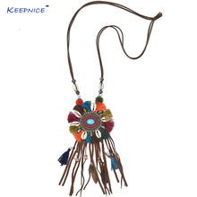 New Personalized Handmade Jewelry Supplier Long fringes Leather Tassel Pendents aqua stone Boho Bohemia Long Necklace