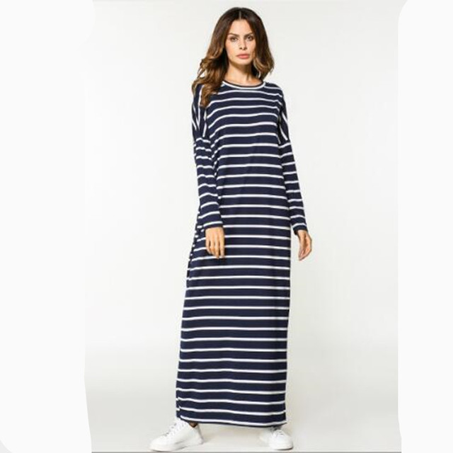 03cd26d6a1f Maxi Dress Stripe Cotton Middle East Abaya Shirt Vintage Robe Muslim Robe  Moroccan Burka Kimono Kaftan Islamic Arab Dubai QC554
