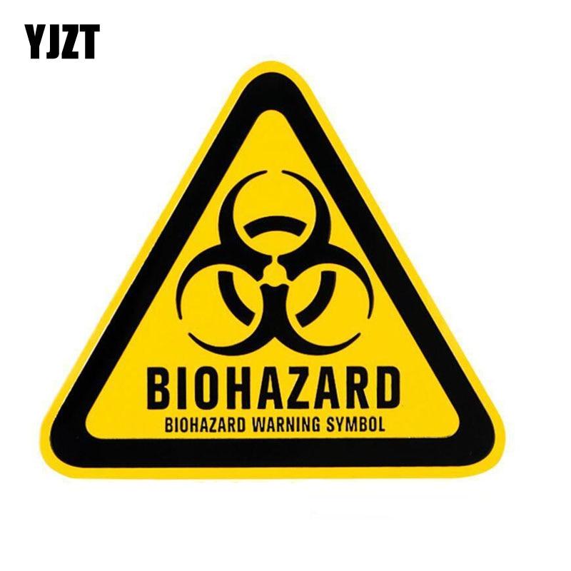 YJZT 12x10.7cm Cartoon Triangle Aluminum BIOHAZARD WARNING SYMBOL Car Sticker Retro-reflective Decals C1-8124