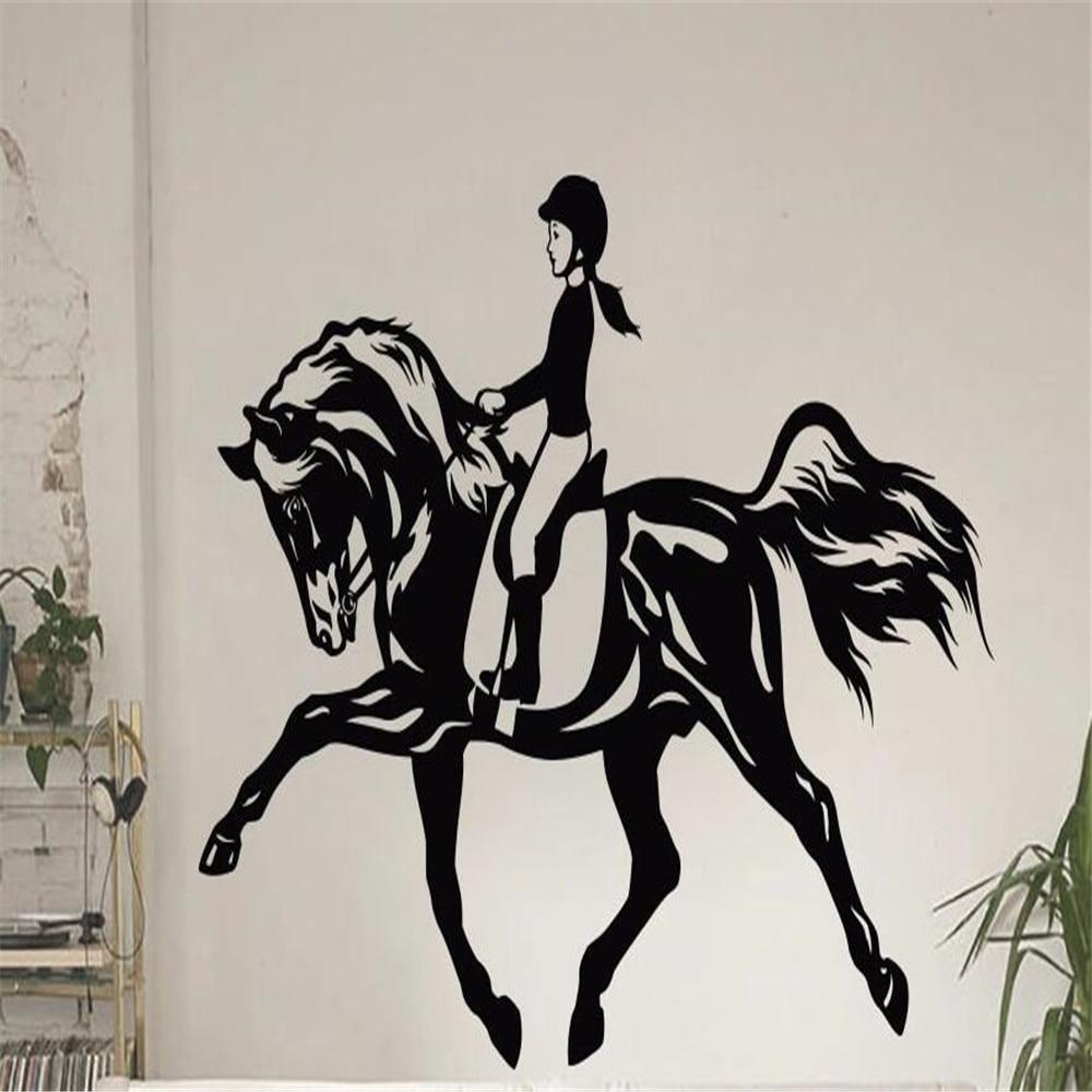 Women Horse Sport Wall Art Sticker Equestrian Vinyl Decal Die Cut Window Door Room Stencil Mural Home Decor