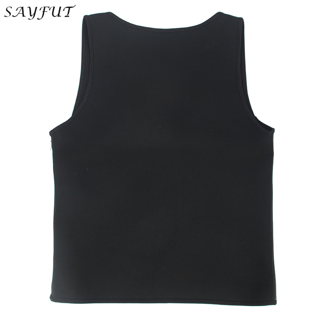 SAYFUT Hot Sweat Vest Neoprene Sauna Men Vest For Weight Loss Tummy Control Slimming Shapewear Waist Trainer Body Shaper Top