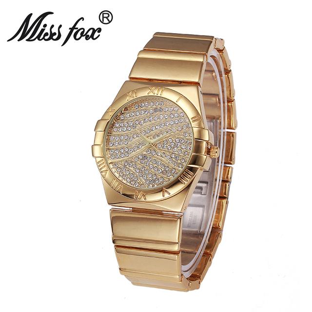 Miss Fox Roman Numerals Gold Watches Women Famous Brand Diamond Watch Face For Women Clock Steel Weave Rhinestone Quartz Watch