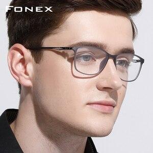 Image 2 - FONEX TR90 Lega di Ottica di Vetro del Telaio Uomini Cerchio Pieno Quadrati Miopia Occhio di Vetro per Gli Uomini Occhiali Da Vista Occhiali Senza Viti