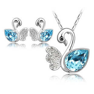 New 2014 Wholesales Fashion Jewelry Rhinestone Crystal Lady's Swan Pendant Necklaces Earring Jewelry sets
