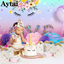 Ourwarm Unicorn Party Unicornio Paper Bags Cake Toppers Paper Candy