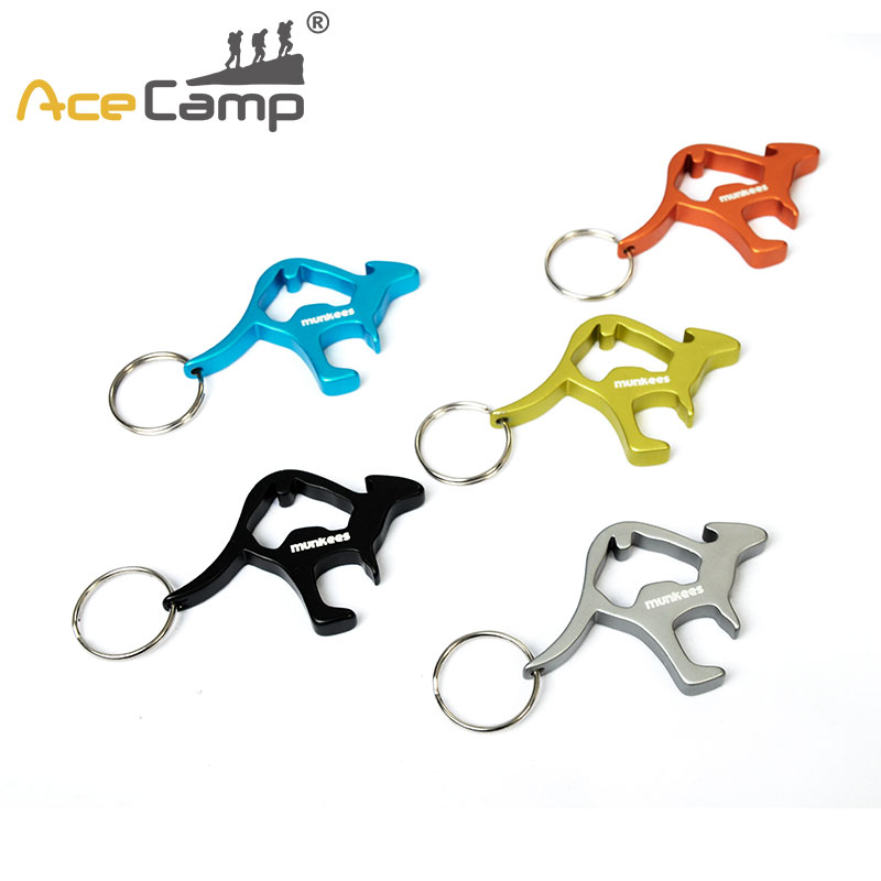 AceCamp Aluminum Alloy Kangaroo Beer Openers Animal Wine Beer Bottle Key Ring Keychains Favourite Gifts