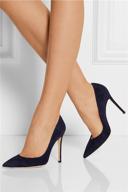 8f3605c0394 Classical Gianvito Rossi Navy Suede pumps Women genuine leather shoes  fashion women pumps office lady shoes