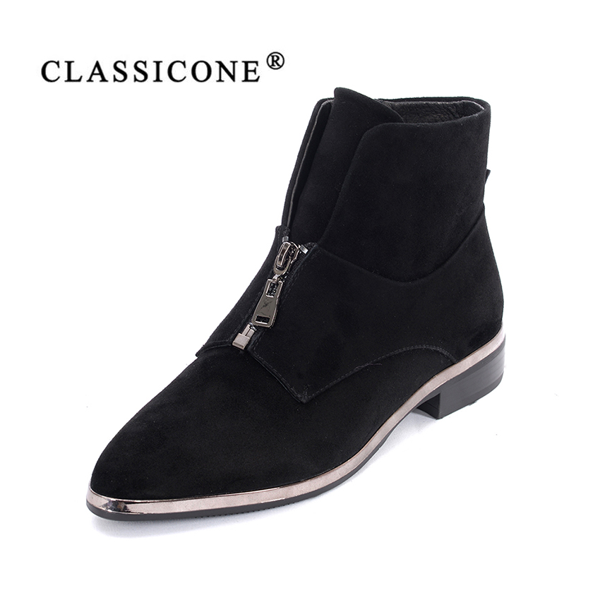 women shoes spring autumn woman ankle boots flats with genuine leather suede fashion zip decoration style sexy luxury CLASSICONE ...