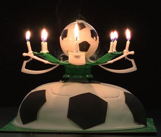 Musical Rotating Football Soccer Birthday Celebration Candles Cake Topper Happy Birthday Candles with 8 Candle Lights : lighting birthday candles - www.canuckmediamonitor.org