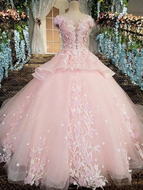 Pink Prom Dresses 2020 Lace Appliques Ball Gown Tulle Sequin Scoop Cap Sleeves Vestidos De Fiesta De Noche Largos Elegantes