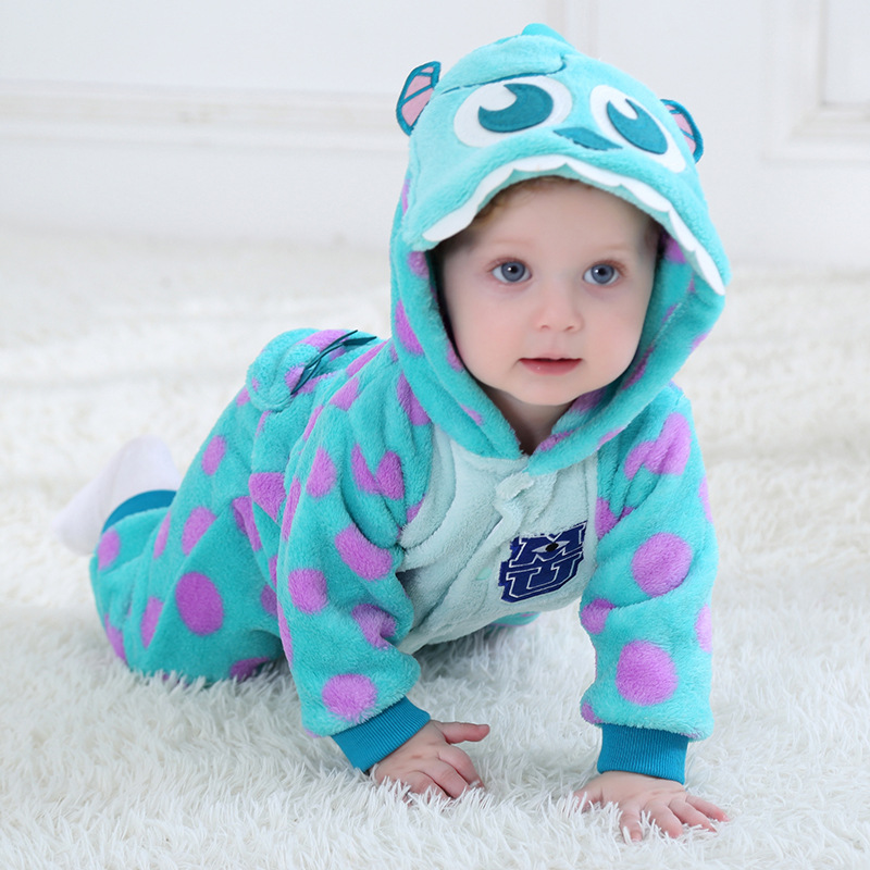 2019 Infant   Romper   Baby Girls Clothes Jumpsuit New born Home Clothes Flannel Hooded Toddler Baby Boys Cute Panda   Romper   Costume