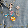 6pcs/set Astronaut Robot Planet Space shuttle Universe Warfare Brooch Denim Jacket Pin Buckle Shirt Badge Gift for Friend