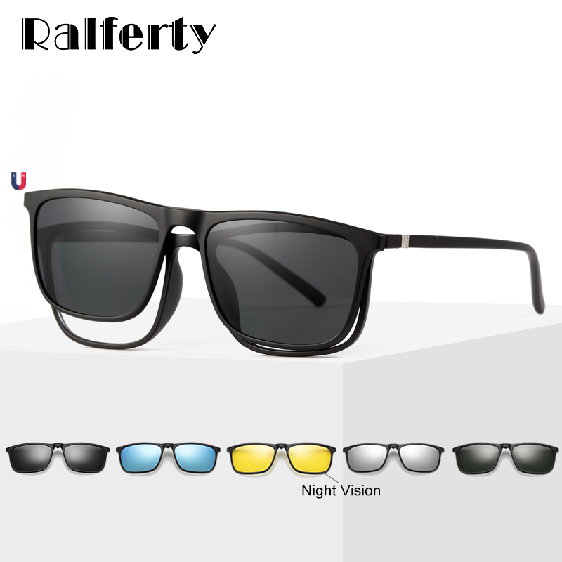 Ralferty Magnetic Sunglasses Men 5 In 1 Polarized Clip On Sunglass Women Square Sunglases Ultra-Light Night Vision Glasses A8804