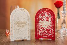 HOT Arrival Church Gate Couple Lover Laser Cut Wedding Invitations Cards Customize Printing Set of 100