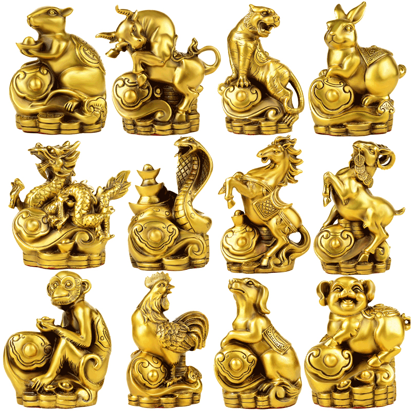 FENGSHUI fait à la main chinois zodiaque animaux mouton Dragon tigre chien lapin cheval singe cochon coq serpent Rat Ox Statue de collection