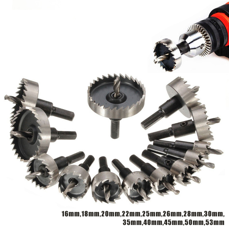 13pcs 16-53mm Hole Saw Set HSS Durable Stainless Steel Hole Saw Cutter For Metal Wood Alloy Cutting Tool Drill Bit Cutting Set