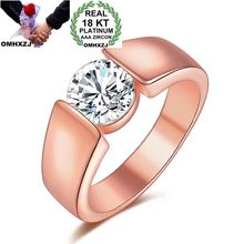 OMHXZJ Wholesale Personality Fashion Woman Girl Party Wedding Gift Rose Gold Simple AAA Zircon 18KT Ring RN53