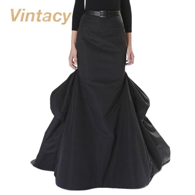 Vintacy длинная юбка vintage мода весна черные женщины юбка повседневная вечеринка макси юбка хлопок офис долго плиссированные юбки
