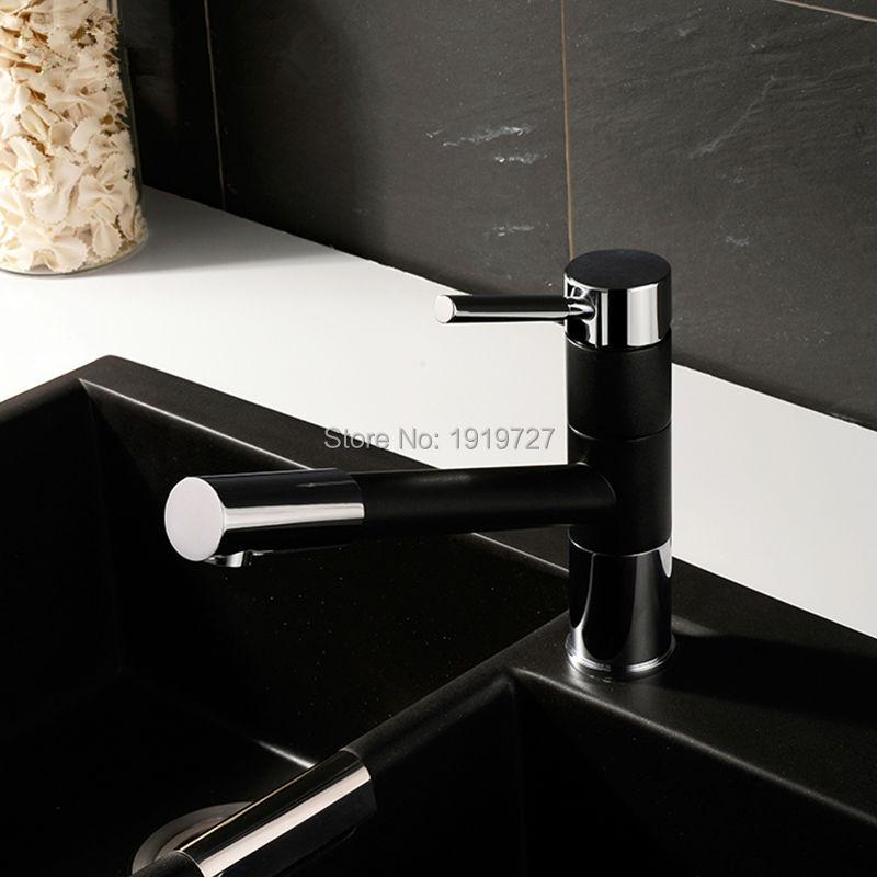 Вытащить спрей 360 градусов Поворотный носик матовый Гранит черный или желтый Краски Кухня кран раковина смеситель