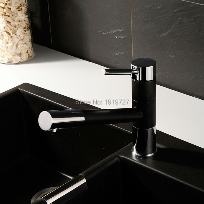 Pull Out Spray 360 Degrees Swivel Spout Matte Granite Black Or Yellow Paint Kitchen Faucet Sink Mixer Tap