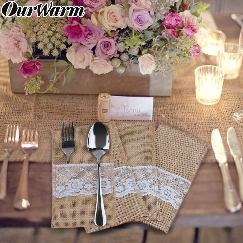 OurWarm 10Pcs Burlap Lace Cutlery Pouch Rustic Wedding Tableware Knife Fork Holder Bag Hessian Jute Table Decoration Accessories(China)