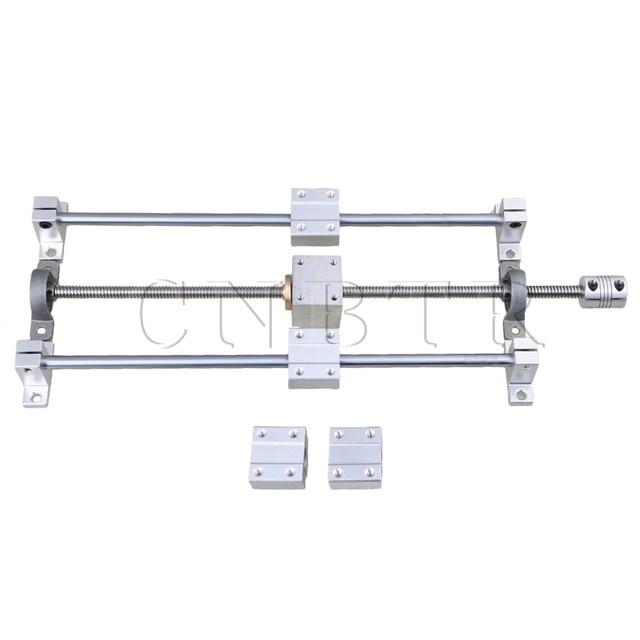 CNBTR Linéaire Horizontale 200mm L'axe Optique et T8 Vis Double Soutien de Rail de Roulement CNC Bloc & Stepper Coupleur jeu de supports