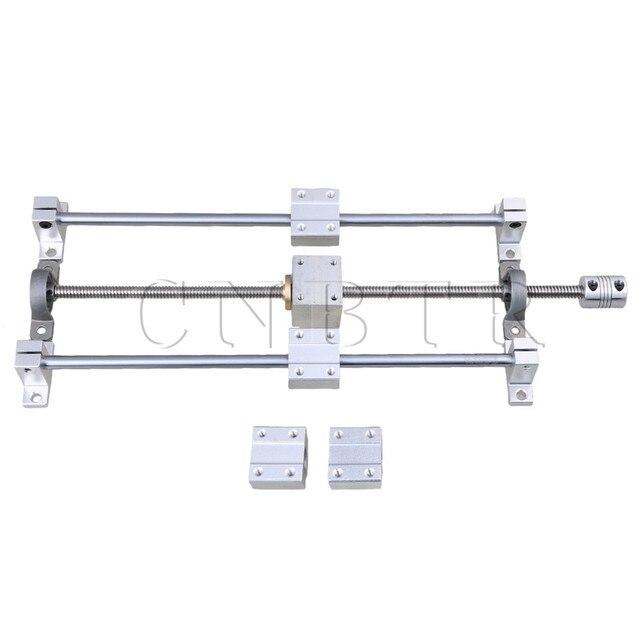 CNBTR linéaire Horizontal 200mm axe optique et vis à tête T8 double Rail Support CNC bloc de roulement et coupleur pas à pas ensemble de Support