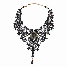 цены на ZCHLGR New 1PC Women Black Lace& Beads Choker Victorian Steampunk Style Gothic Collar Necklace Gift for women  в интернет-магазинах