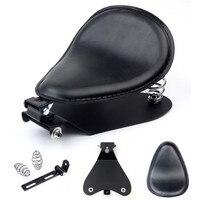 Universal Motorcycle Seat Retro Solo Seat 3 Spring Bracket Base Kit For Harley 48 Sportster XL883 1200 Black Bobber Saddle Seat