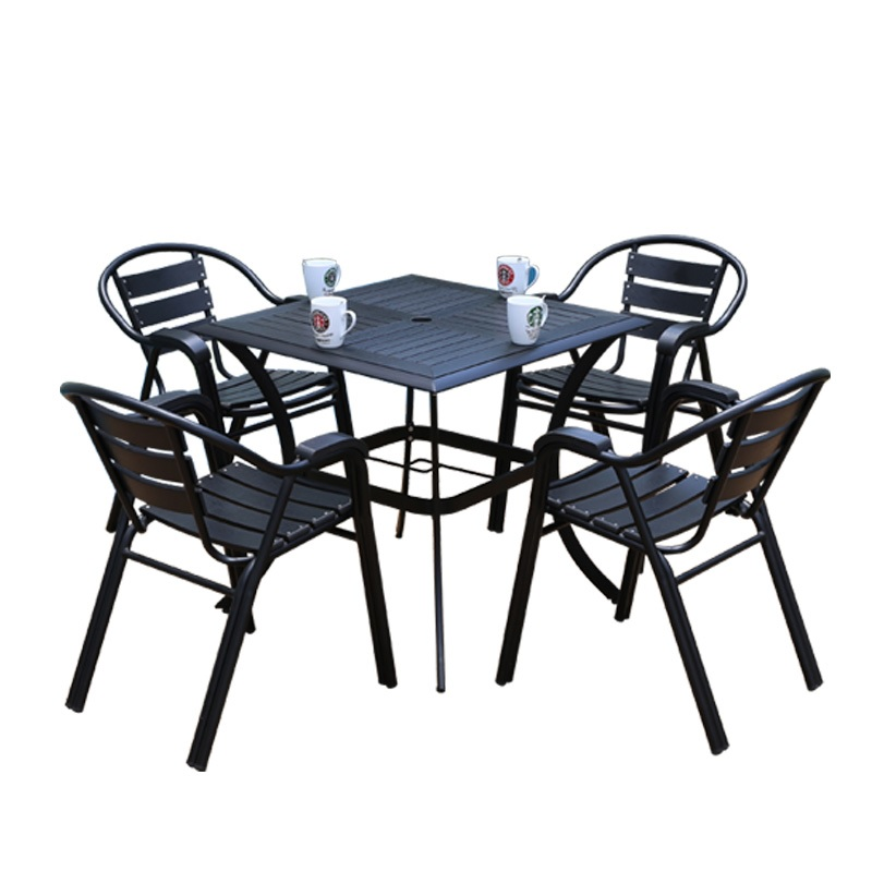 10sets PACK, Wood-Plastic Composites WPC Garden Chair And Table For Comofortable Alfresco Dinning