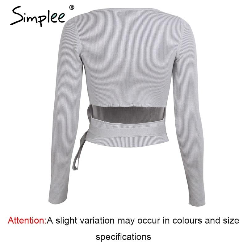 c94b6cf654 Simplee Casual tie up knitted sweater women Skinny slim knitting pull femme  jumper Crop top winter sweater tricot pullover women - TakoFashion - Women s  ...