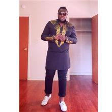 Livraison gratuite Africain dashiki impression traditionnelle homme Africain stand col manches longues chemise à manches longues Plus la taille D18539