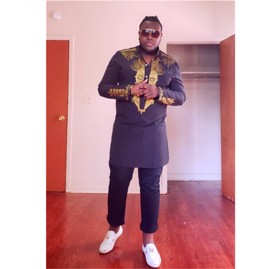 RICHE BAZIN African clothing African Dashiki Traditional Maxi Man African Stand Collar Long Sleeved Long Sleeves Shirt Plus size