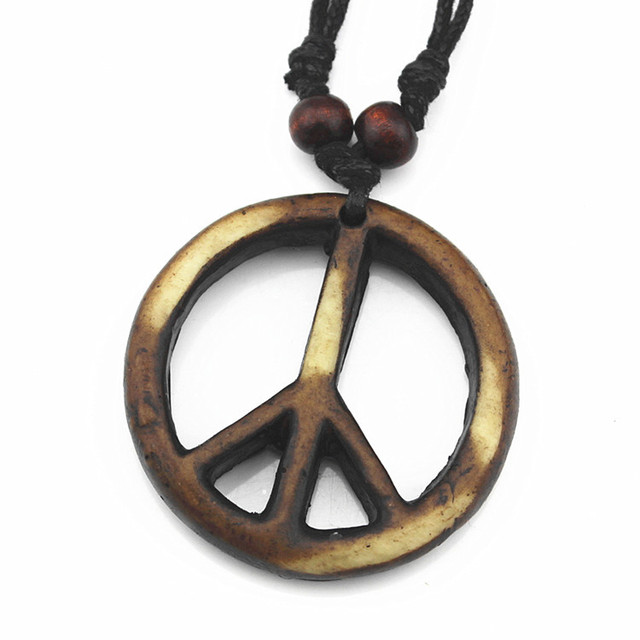 Cool Tribal Imitation Yak Bone Carved Peace Sign Necklace Adjustable Wood  Beads Rope MN111 f8611b9c49d5