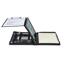 Professional Genuine Leather Portfolio A4 Folder with Tablet Case, Business Padfolio Organizer with Clipboard