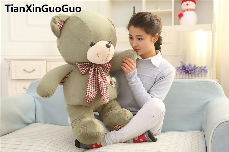 stuffed plush toy large 80cm lovely green teddy bear plush toy bear doll soft throw pillow birthday gift w2982 2pcs pair lovely couple teddy bear with cloth dress plush toy stuffed baby doll girls
