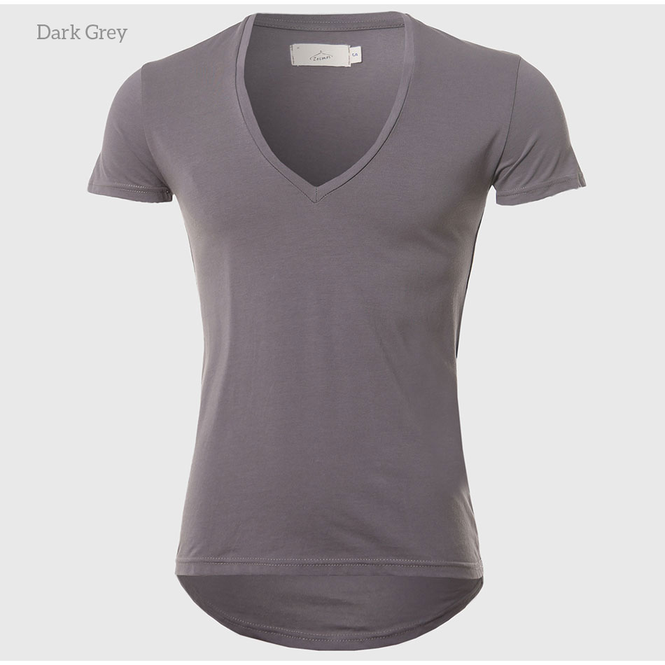 21 Colors Deep V Neck T-Shirt Men Fashion Compression Short Sleeve T Shirt Male Muscle Fitness Tight Summer Top Tees 9