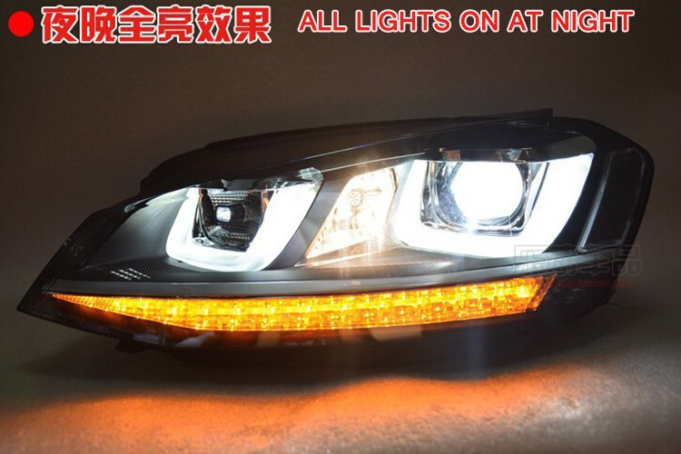 HIDLED AUTO Double U LED Angel Eyes Bi-xenon Headlights For Golf 7 GTI ALL LIGHTS ON AT NIGHT
