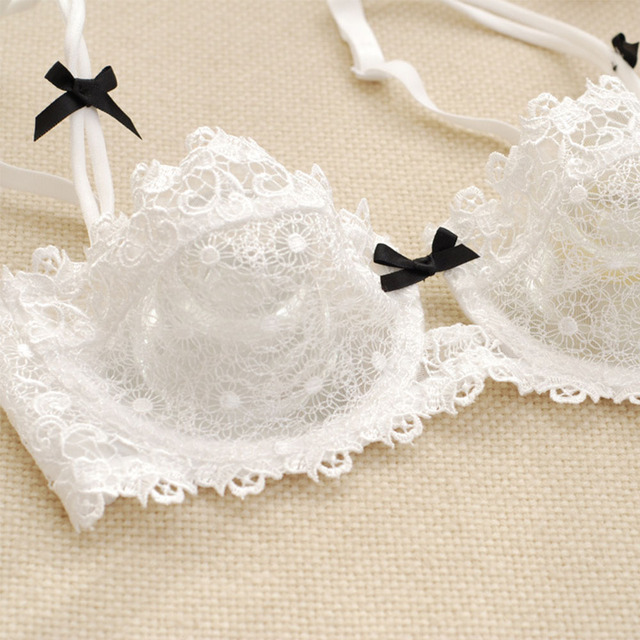 New Ultra-thin mesh lace Bralette sexy lingerie women gather bra sets Panty Underwear 30-40 AA A B C D Cup