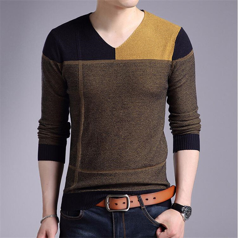 High Quality Spring Autumn Contrast Color Sweater Men Casual Long Sleeve V-Neck Sweaters Mens Shirts Pullovers Pull Homme