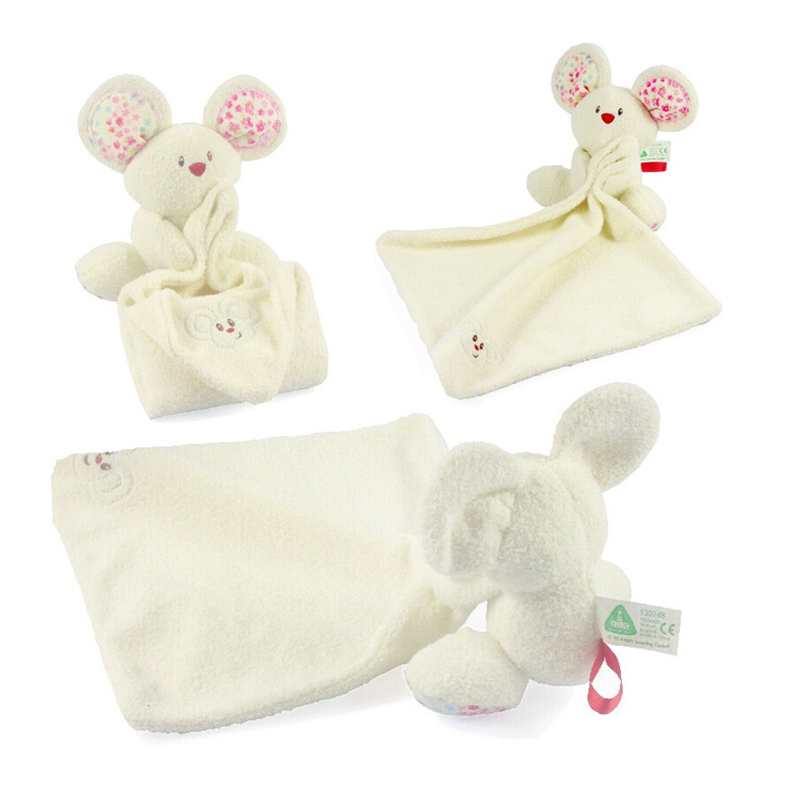 1pc Baby Comforter Toy Cute Cartoon Animal Mouse Soft Plush Rattle with Ring Bell Multifunctional Saliva towel Baby Care