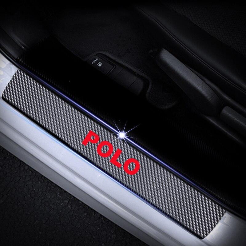 Защита порога автомобиля для Volkswagen VW Polo Накладка на порог двери Накладка 4D виниловая наклейка из углеродного волокна автомобильные аксессуары 4 шт - Название цвета: Red