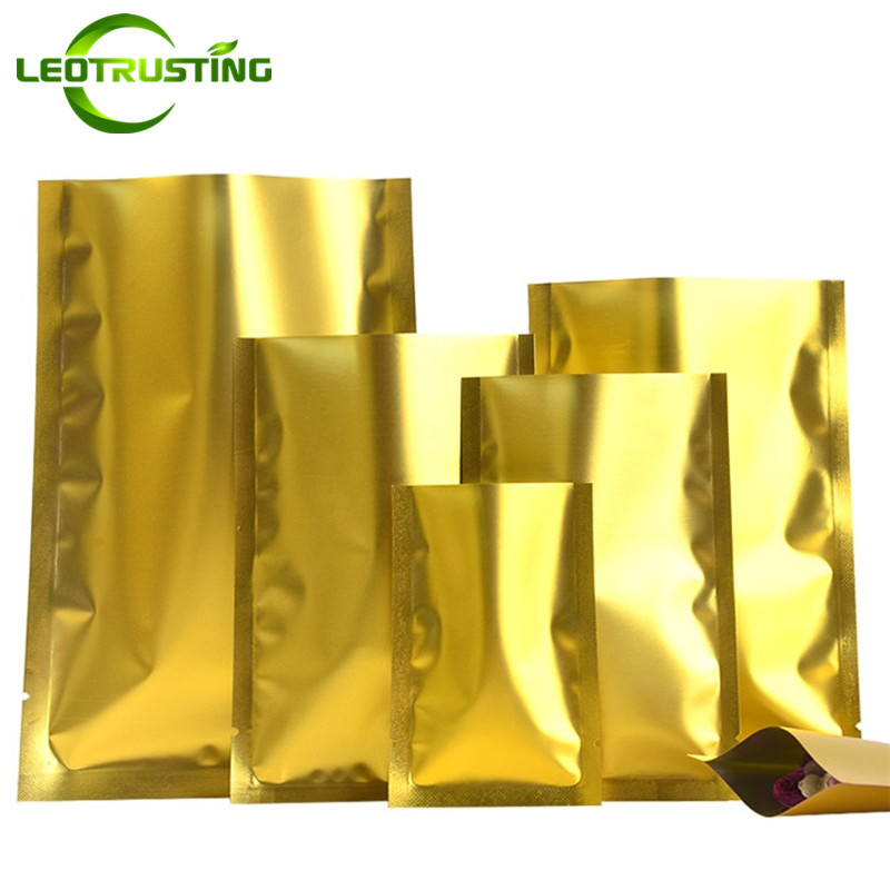 Leotrusting 100pcs/lot Open Top Matt Gold Aluminum Foil Bag Herbal Medicine Powder Packaging Bag Gold Heat Sealing Storage Bags